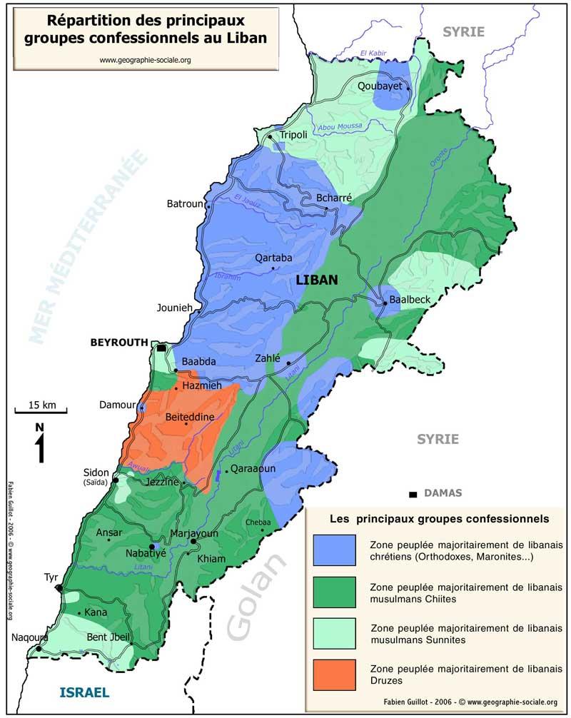 Carte du Liban   Localisation et répartition des confessions