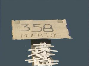 Panneau indiquant 358 morts à cet endroit de la frontière entre le Mexique et les Etats-Unis