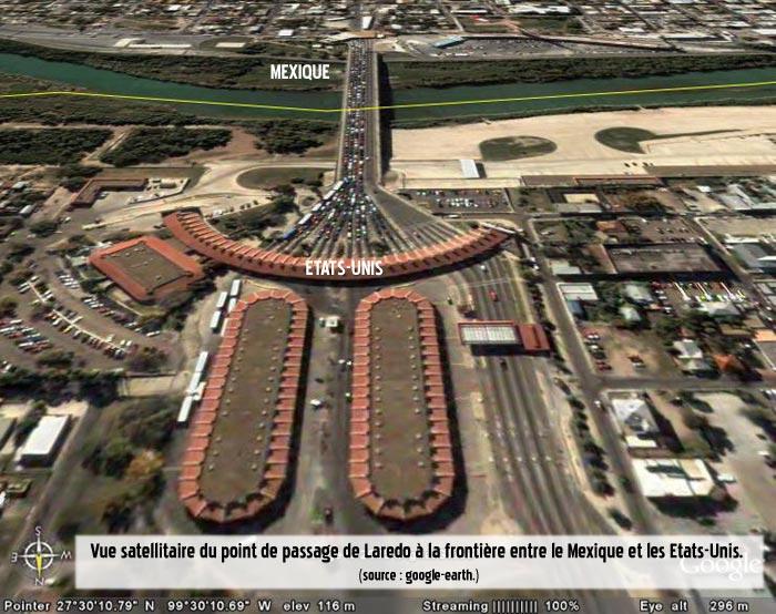 Vue satellite de la frontière au niveau de Laredo à la frontière entre le Mexique et des Etats-Unis